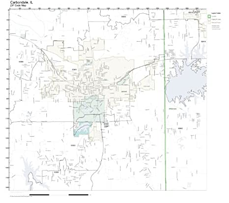 Amazon.com: ZIP Code Wall Map of Carbondale, IL ZIP Code Map Not