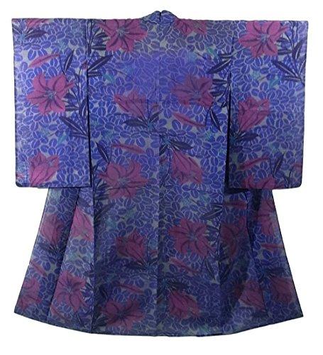 アンティーク 着物 夏物 薄物 萩にユリの花模様 正絹 裄61cm 身丈145cm