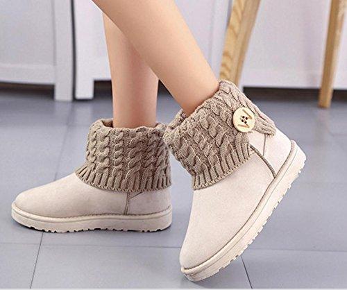zapatos de mujer color de de redondos Las nieve giro sólido 120W algodón botas botas nuevas lana caliente NSXZ botas de planos botones qTwnAXnp