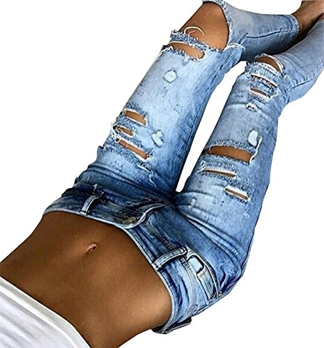 Quanxin Womens Destroyed Ripped Hole Washed Pencil Jeans
