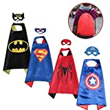 SPESS Superhero Capes Kids Dress Birthday Party Cartoon Costume Set for Boys and Girls 4 Set with Marks and Bags (Reversible)