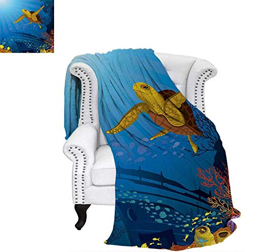 Warm Microfiber All Season Blanket for Bed or Couch Colored Coral Reef with Silhouette School of Fish and Turtle Underwater Art Throw Blanket 60