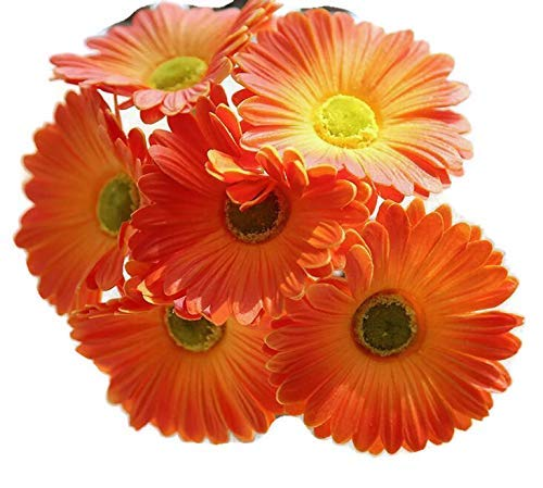 Gerber Daisy Flower Arrangements - FRP Flowers Real Touch Latex 24 inch Gerbera Daisy for Bouquets, vase Arrangements, Home/Office Decor (Pack of 5) (Orange)