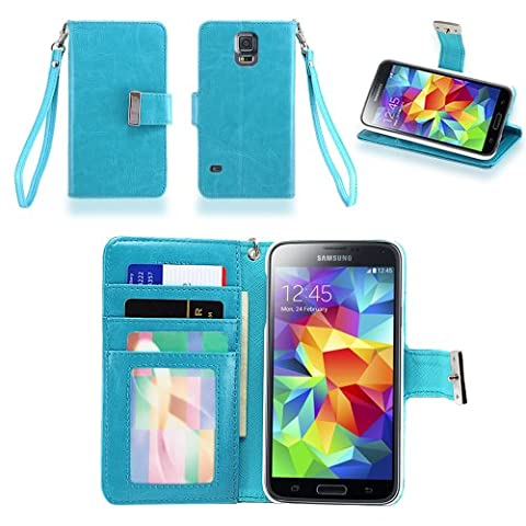IZENGATE Samsung Galaxy S5 Executive Premium PU Leather Wallet Flip Case Cover Folio Stand (Turquoise (Flip Cover Cases For Galaxy S5)