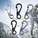 MIJORA-5Pcs Survival Outdoor Mini Spring Hang Buckle Quickdraw Key Chain Alloy Keychain
