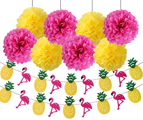(Wcaro Luau Party Supplies Flamingo Party Supplies Hawaiian Decorations Luau Decor Yellow Rose Red Tissue Paper Pom Poms Flamingo Pineapple Banner For Tropical Luau Hawaiian Summer Party)