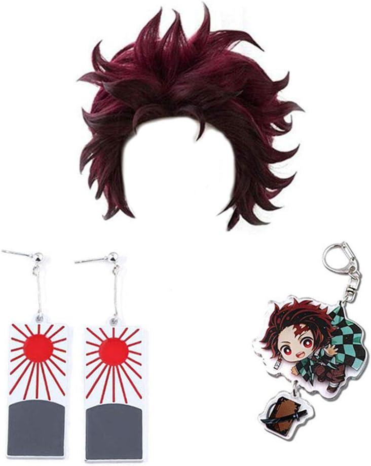 Demon Slayer Kimetsu no Yaiba Personaggi Gioca Parrucche Cosplay Costume anime Capelli sintetici con orecchini Portachiavi