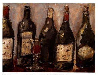 Wine Bar with French Glass by Nicole Etienne - 17x13 Inches - Art Print Poster