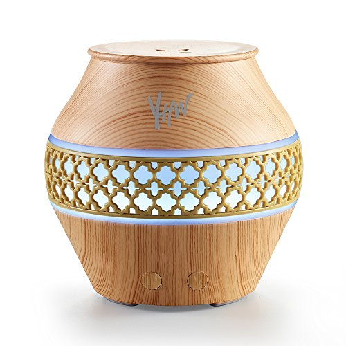 YHW Essential Oil Diffuser Humidifier, 5 to10 hours Home & Travel Aromatherapy Diffuser, 100~240V Ultrasonic Vaporizer with Night Light for Home, Baby Room, Office, SPA, Cruise, Light Wood Color