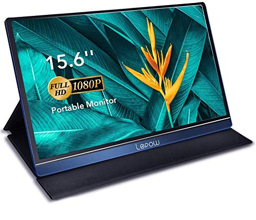 Portable Monitor - Lepow Upgraded 15.6 Inch IPS HDR 1920 x 1080 FHD Computer Display Game Screen with USB Type-C HDMI for Laptop PC MAC Phone Xbox Switch PS4 Include Smart Cover Screen Protector Blue