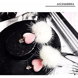 JD Million shop Korean New Fashion Sweety Pink Love Heart Shiny Rhinestone White Mink Fur Earrings For Women Brincos