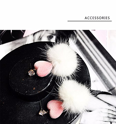 JD Million shop Korean New Fashion Sweety Pink Love Heart Shiny Rhinestone White Mink Fur Earrings For Women Brincos