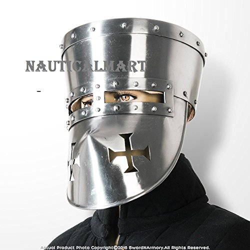Functional 18G Steel Crusader Knights Templar Helmet Great Helm WMA SCA LARP By Nauticalmart by NAUTICALMART