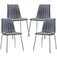 Poly and Bark Pierce Fabric Side Chair in Gray (Set of 4)