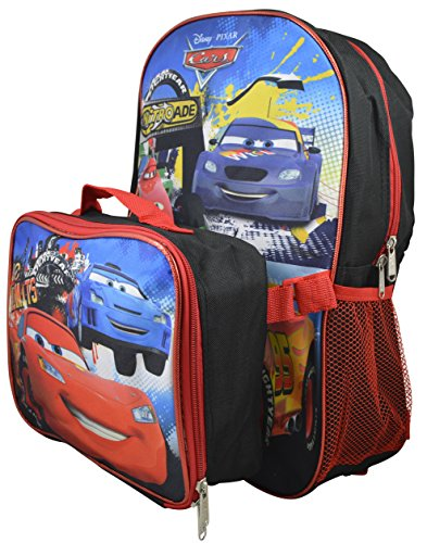 """Disney Pixar Cars Kid's Large 16"""" Backpack with Detachable Lunchbox"""