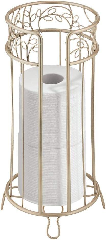 Satin Holds Mega Rolls mDesign Decorative Metal Toilet Paper Holder Stand and Dispenser for Bathroom and Powder Room