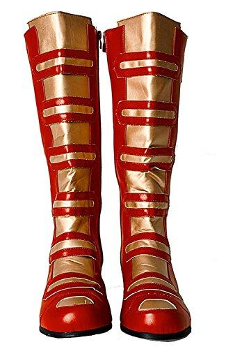Power Ranger Iron Man Cosplay Comic Avengers Knee High Gold & Red Knee High Men's Boots