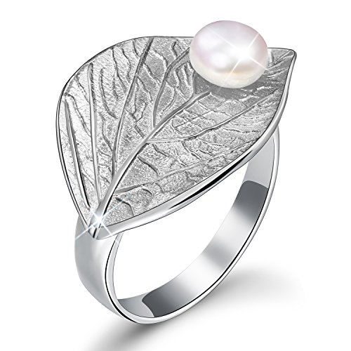 Lotus Fun S925 Sterling Silver Rings Autumn Leaf Open Ring with Natural Freshwater Pearl Handmade Jewelry Unique Gift for Women and Girls (Silver)