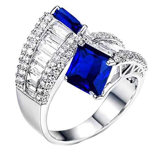 Baguette Square Ring - RING SIZE 8 SAPPHIRE BLUE COLORED SQUARE CUT JEWELS AND CLEAR BAGUETTE CUT STONES RING