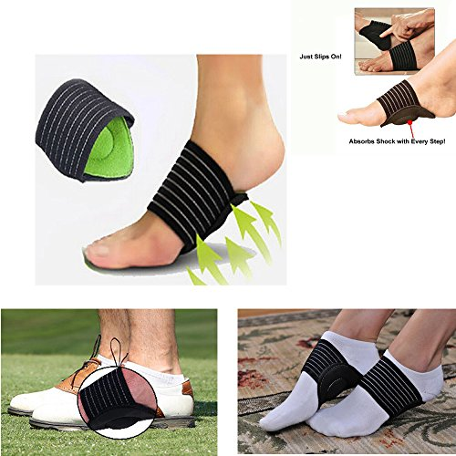 JERN Cushioned Compression Arch Support for Flat and Achy Feet (Unisex) - 1 Pair