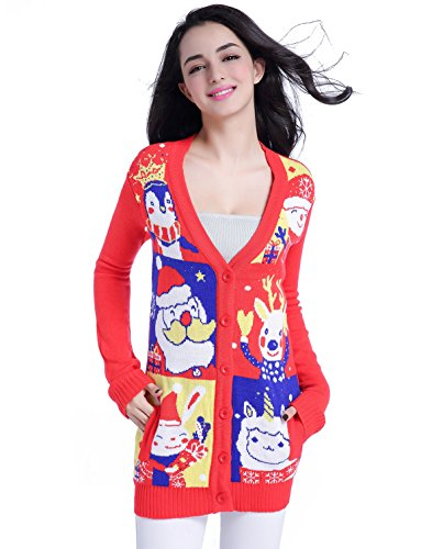 v28 Christmas Sweater Cardigan, Ugly Women Knit White Red Santa Xmas Sweater