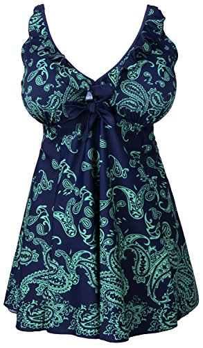 Women's Plus-Size Retro Print Two Piece Pin up Bathing Suits Swimdress Dark Green US 20-22W