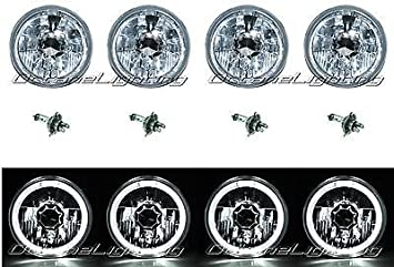 5-3//4 Halogen White LED Ring Halo Angel Eyes Headlight Headlamp Light Bulbs Set