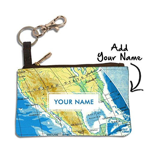 Travel Atlas Case (Nutcase Personalized Metal Keychain Clip Keyring Pu Leather Pouch Pocket Storage Earphone Travel Case - Customized With Name - Personalised Gift For Him Her - Atlas Map)