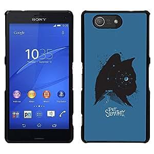 """For Sony Xperia Z3 Compact Case , Gatito Gato Mascotas Estrellas Spooky Azul Negro"""" - Diseño Patrón Teléfono Caso Cubierta Case Bumper Duro Protección Case Cover Funda"""