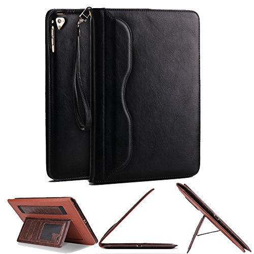 iPad Mini 1/2/3/4 Sleeve Case,SorbSun Portable Multi Function Slim Folio Flip PU leather Smart Stand Full Body Protective Case Cover with Card Slot and Wallet Case for 7.9 Inch iPad Mini 1/2/3/4,Black