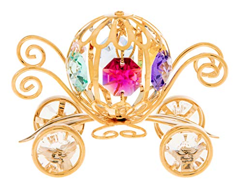 Pumpkin Coach 24k Gold Plated Metal Ornament with Multi-Colored Spectra Crystals by Swarovski