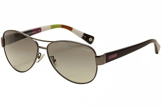 cd0bac28b6 Coach HC 7003 (L012 Kristina) 9010 11 Dark Silver Pink Aviator Sunglasses   Amazon.co.uk  Clothing