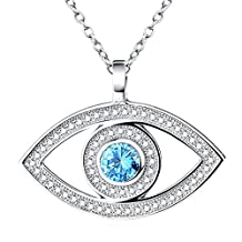 Rhodium Plated Sterling Silver Evil Eye Hamsa Blue White CZ Pendant Necklace,Rolo Chain 18''