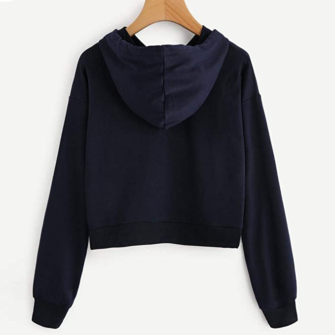 MEIbax Women Autumn Long Sleeve Open Cord Hooded Long Sleeve Lady Stitching Blouse Casual Blouse Tops t-Shirts to Personalize Promotional t-Shirt Beautiful ...