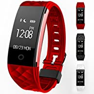 Wireless S2 Fitness Monitor Smart Bracelet Bluetooth 4.0 Heart Rate monitor-Waterproof IP67 Sleep Monitor Notification Alerts Wristband for Android IOS Phones (Red)