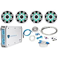 4 KICKER 43KM84LCW 8 1200w Marine Boat Speakers w/ LEDs+4-Ch Amplifier+Amp Kit