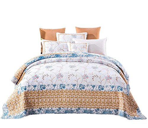 Tache Home Fashion Winter Frost Embroidered Floral Quilt Bedspread Set, Twin, Multi