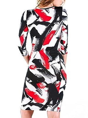 Enlishop Women's Black 3/4 Sleeves Splash Ink Bodycon Workwear Midi Party Dress
