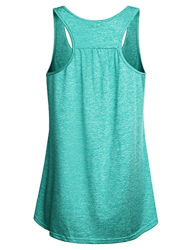 Miusey Gym Tops Racerback Design Round Neck Sleeveless Army Camouflage Yoga Sports Stretchy Lightweight Comfy Breathable Cool Workout Tank Green M by Miusey (Image #1)