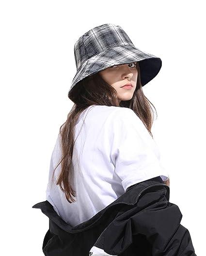 3f66daf3f278e DOCILA White Black Vintage Tartan Bucket Hat for Women Reversible Causal  Outdoor Fisherman Sun Cap