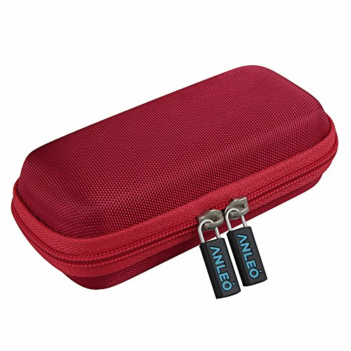 Anleo Hard Travel Case fits Anker Astro E1 5200mAh / 6700mAh Candy Bar-Sized Ultra Compact Portable Charger External Battery Power Bank (Red)