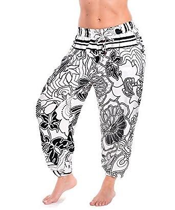 Pantalons Sarouels Pantalon d été Pluder Aladin Pantalons de Plage - Blanc  0101, One Size  Amazon.fr  Vêtements et accessoires 01a3a54a3558