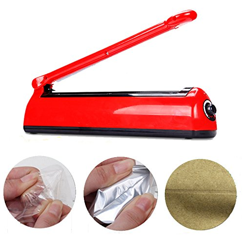 12'' Impulse Sealer, Ship from US, OMGOD 300mm Bag Heat Sealer Capper, Hand Sealing Machine Reseals Plastic Mylar and Cereal Bags Snack Food with Replacement Element Grip and Teflon by OMGOD