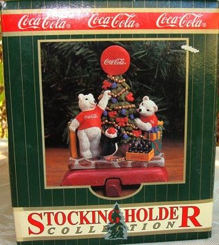 (Coca Cola Christmas Stocking Holder Bears Decorating Tree)