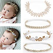 DANMY Baby Girl Rhinestone Crown Headbands Toddler Princess Headband Hair Accessories (Gold Band (4pcs))