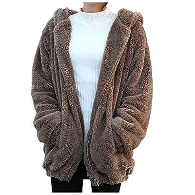 Gsha Women Baggy Outerwear Girls Soft Cartoon Bear Hoodie Cute Jacket Coat
