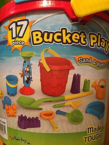 17 Piece Bucket Playset for Sand & Water Fun, for Ages 2+ Years