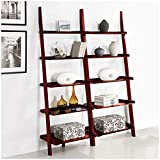 Cherry Five-tier 2-piece Leaning Ladder Shelf Set