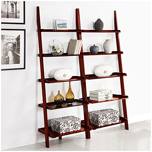 Cherry Five-tier 2-piece Leaning Ladder Shelf Set by Martin Tools