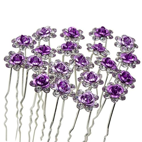 Unicra Wedding Hair Pins for Women Decorative Bridal Wedding Hair Accessories for Brides and Bridesmaids Pack of 20 (Purple)